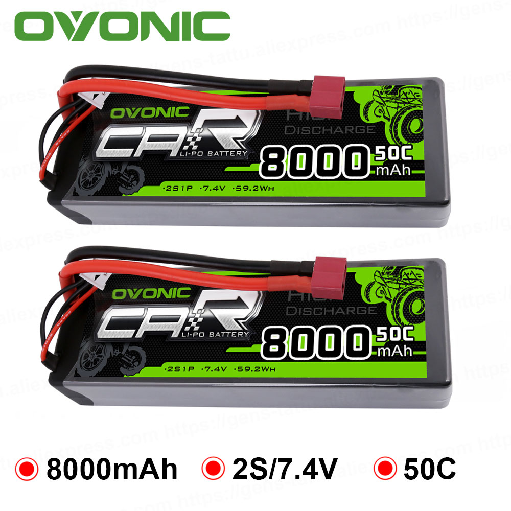 Ovonic 2S Lipo Battery 7.4V 50C 8000mAh Hard Case With Deans T Plug For RC Car RC Truck RC Truggy RC Boat Helicopter