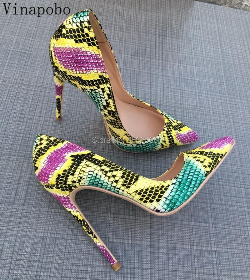 Vinapobo Women Shoes Ladies Slip On Pointed Toe High Heels Snake Pattern Printed Pumps 2019 Spring
