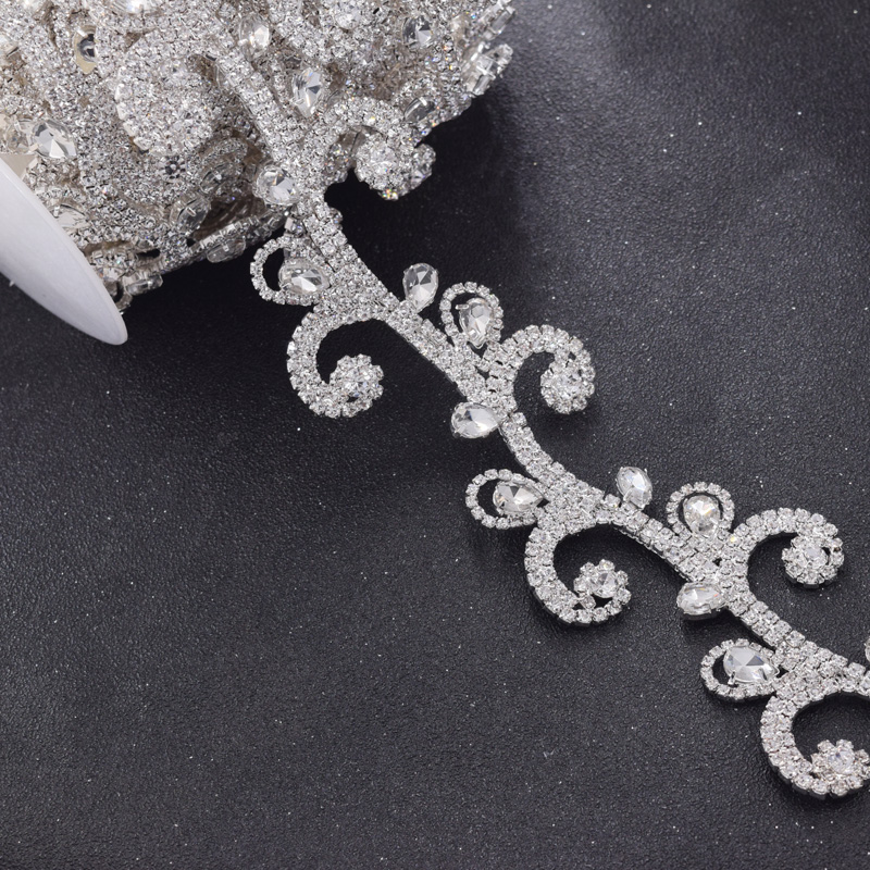 10yards ExquisIte flower crystal rhinestones glass bridal dress belt trims appliques sew on wedding clothings pathces