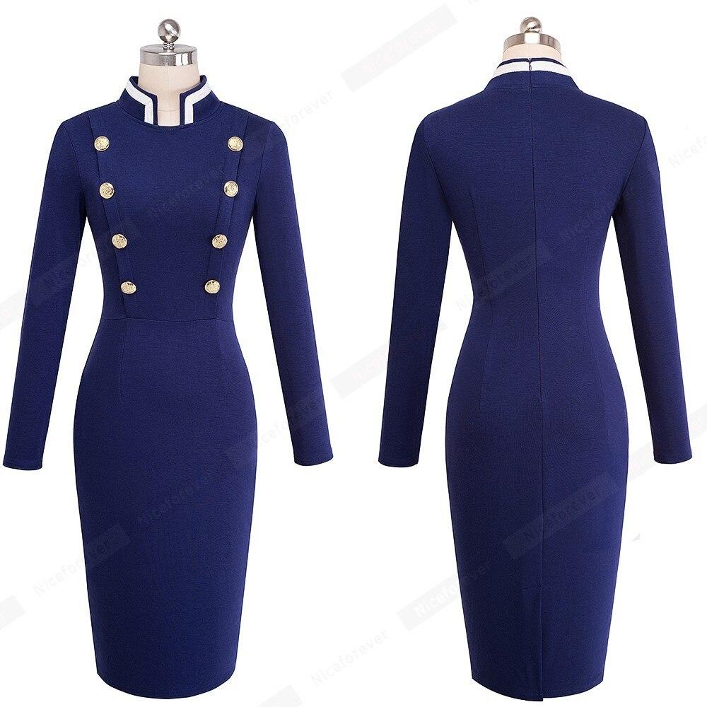 Blue D'affaires 2018 Boutons Femmes À Travail Dames Robe Vintage Robes Green Longues dark Moulante Boutonnage Double Casual D'hiver Bureau Manches Automne Rq5wC