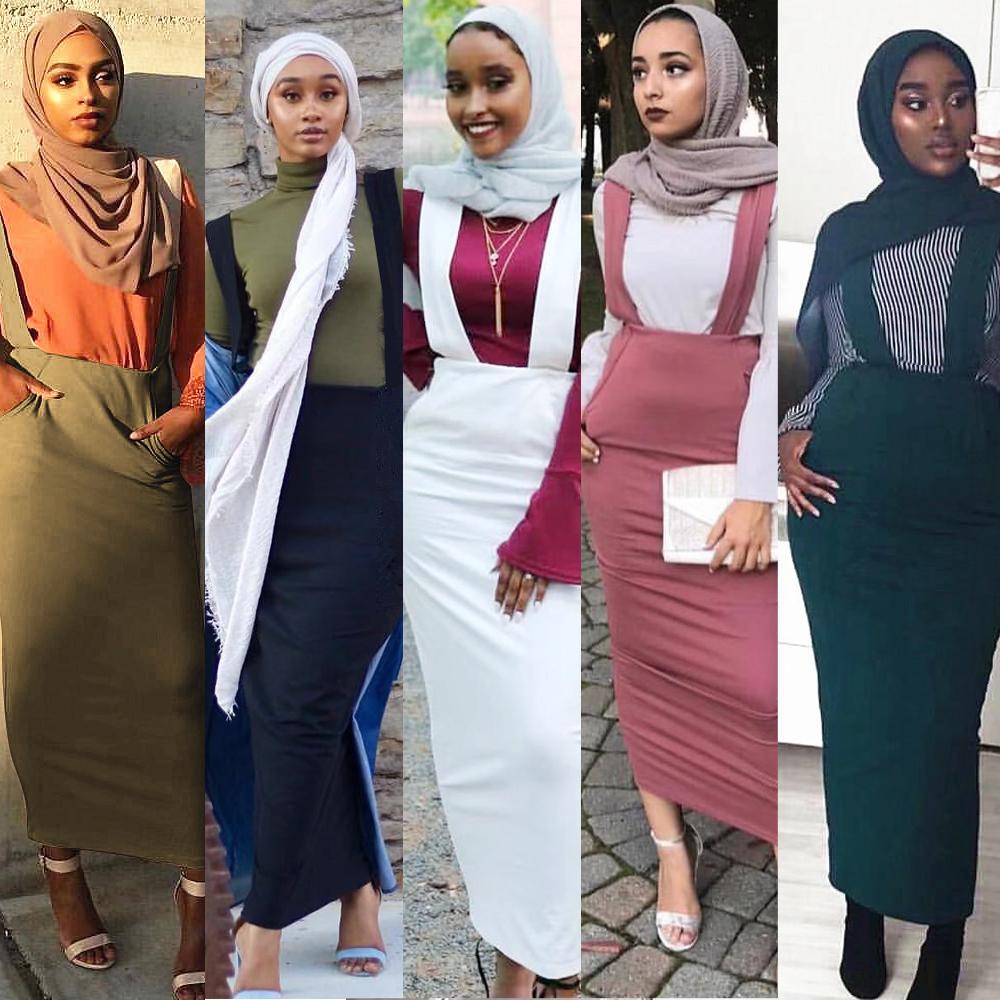 5 Colors Abaya Muslim Skirt Women Suspender Skirt Maxi Pencil Middle East Bodycon Abaya High Waist Sheath Long Skirt Islamic New