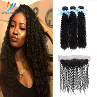 Sevengirls Peruvian Natural Color Kinky Curly 100% Virgin Human Hair 3Bundles With 13*4 Lace Frontal Raw Hair For Women