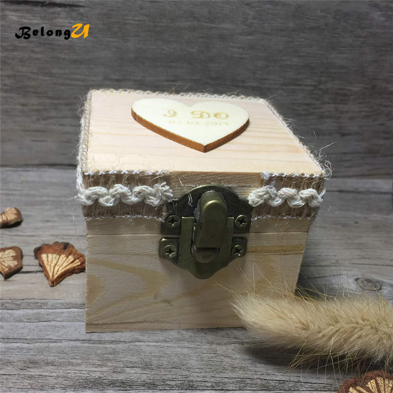 Vintage Custom Personalized Ring Box Wedding Decoration Engraved Proposal Unique Wood Jewelry Ring Bearer Box Without Rings in Party DIY Decorations from Home Garden