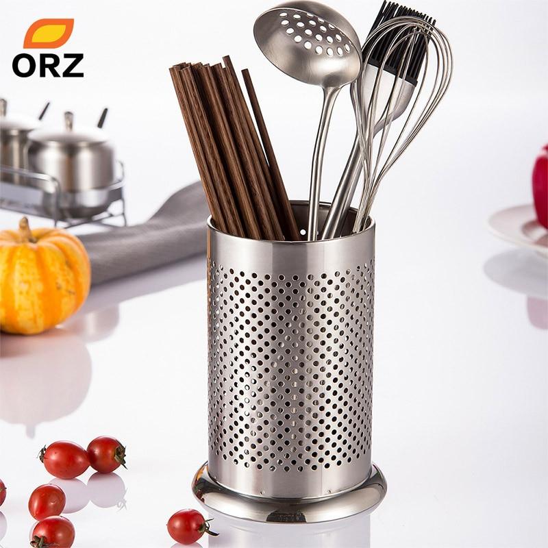 US $6.99 39% OFF|ORZ Stainless Steel Utensil Holder Kitchen Tools Organizer  Chopsticks Tube Tableware Storage Drain Rack Cutlery Caddy Basket-in Racks  ...