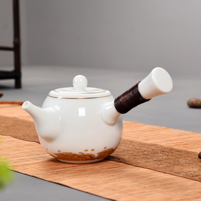 Chinese blue and white porcelain teapot tea maker ceramic Kung Fu tea set side ironing single handle kettle Pu'er tea pot