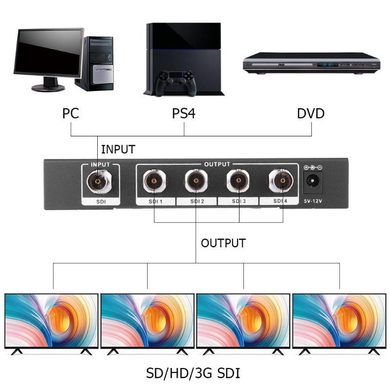4 Port 3g/HD/SD-SDI Splitter 1x4 Une Entrée Quatre Sortie Distributeur Vidéo Amplificateur switcher