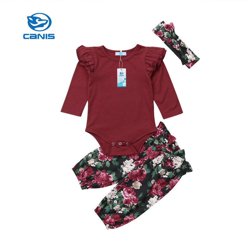 Canis Kids Toddler Baby Girl Ruffle Rose Red Tops Sweatshirt Hoodie Pants Headband Outfits Clothes Set Autumn Girsl Clothing Clothing Sets