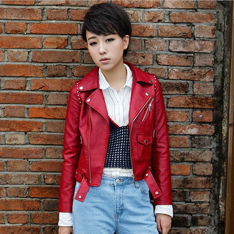 2019 New Ladies Basic Jackets Women Faux   Leather   Coat Autumn Fashion Street Women's Short Washed PU   Leather   Jacket Zipper Jacket