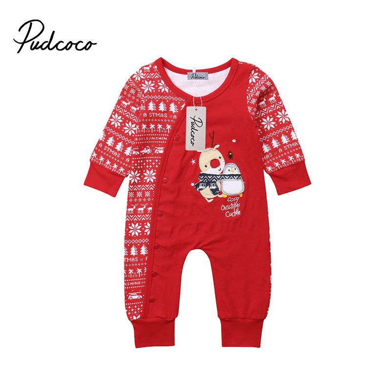 Pudcoco Weihnachten Kleinkind <font><b>Baby</b></font> Jungen Mädchen <font><b>Cosy</b></font> Red One Piece Spielanzug-overall-spielanzug Outfits Langarm Overall image