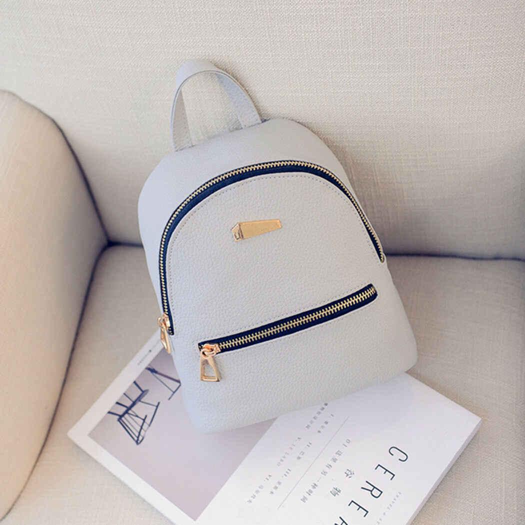 Sırt çantaları kadın 2019 Mini deri sırt çantası kadın düz renk sırt çantası Mochila hediye sırt çantası sırt çantası Schoolbag kızlar için
