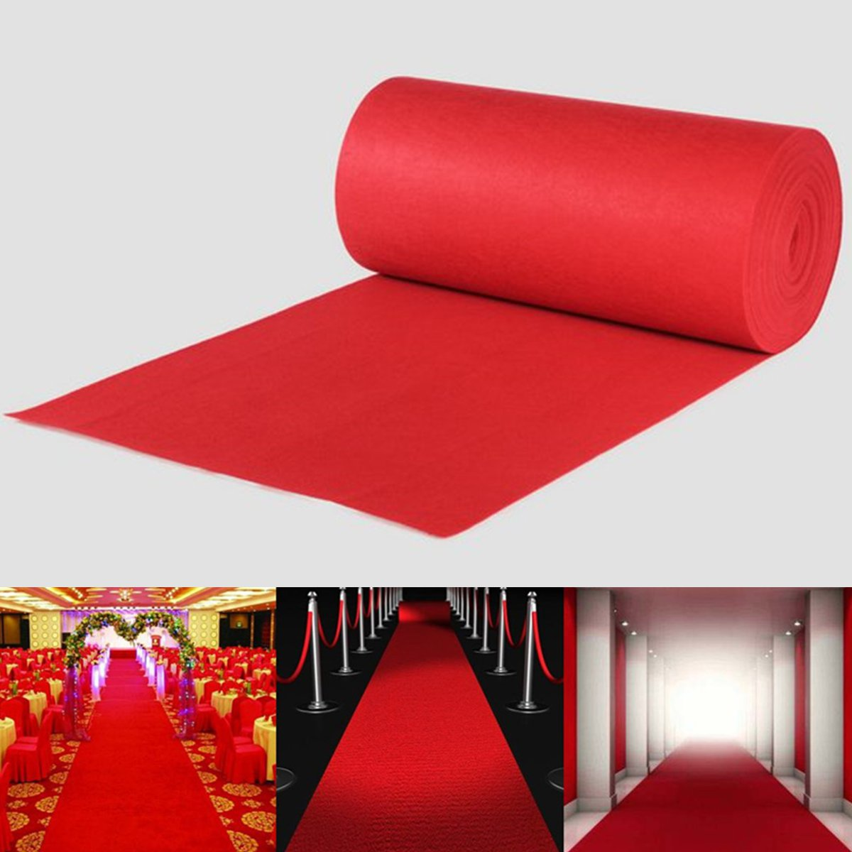 Polyester Large Carpet Wedding Aisle Floor Runner Carpet Rug Hollywood Awards Events Wedding Party Events Decoration Red 10m