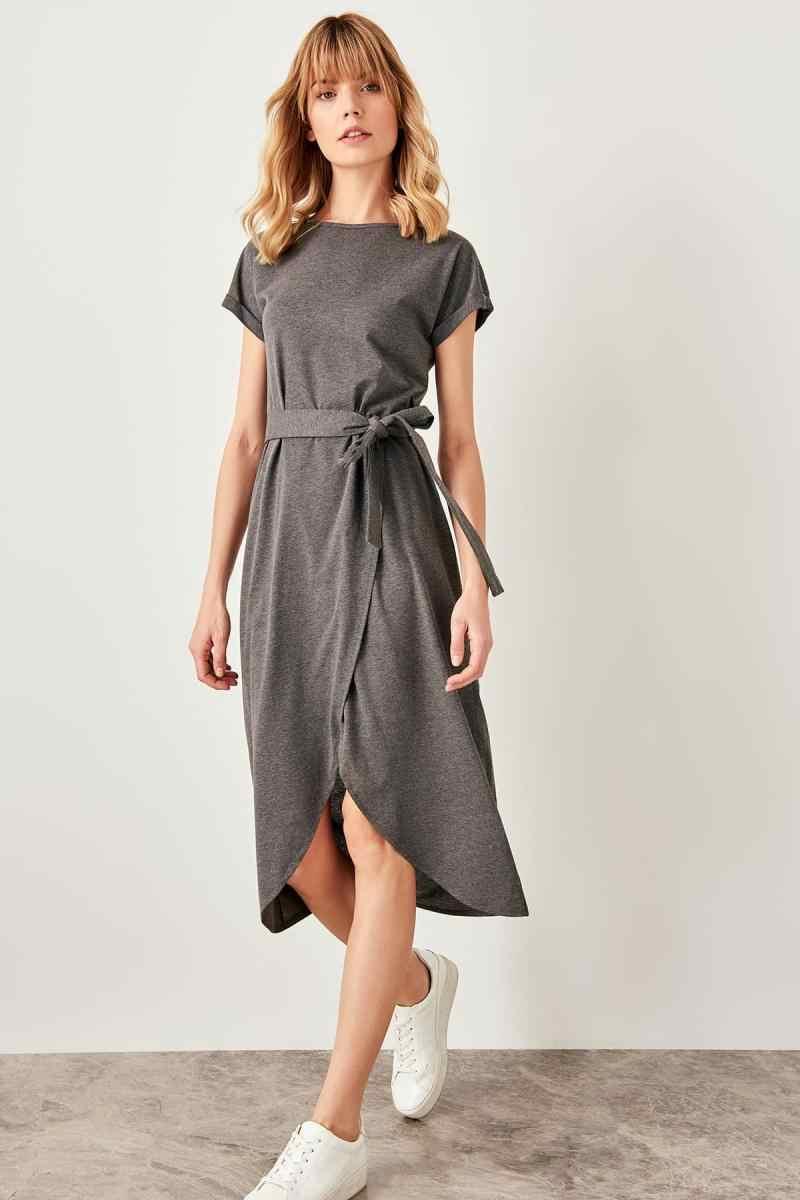 Trendyol Антрацит шнуровкой detayymi трикотажное платье TWOSS19VG0159