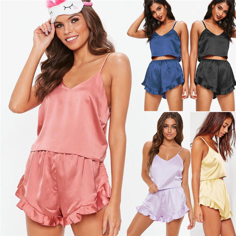Womens Sexy Satin Silk Pajama Sets Sleepwear Solid Color Sleeveless Strap V-Neck Crop Tops Ruffles Shorts 2Pcs Lady Outfits