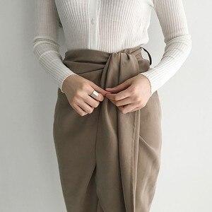 Image 4 - TWOTWINSTYLE מזדמן חצאית לנשים גבוהה מותן תחבושת סימטרי Midi חצאיות נשי קוריאני אופנה אלגנטית 2020 אביב