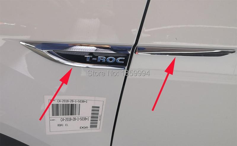 Para 2018 2019 vw T-ROC troc original porta lateral asa fender emblema adesivo guarnição