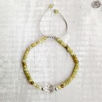 LiiJi Natural Green Garnet,clear Quartzs 925 Sterling Silver Adjustable Friendship Bracelet Sparkling Delicate Jewelry