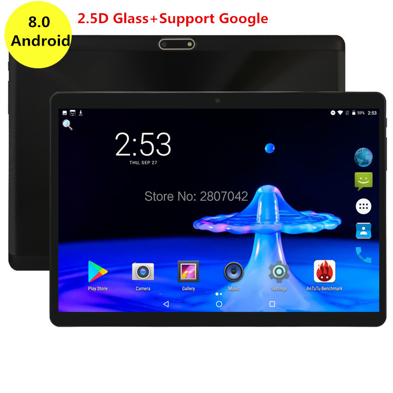 10 Inch Tablet PC Octa Core 4GB RAM 64GB ROM Dual SIM Card Slots 1280X800 2.5D IPS Screen Android 8.0 GPS Tablet 10.1 Youtube