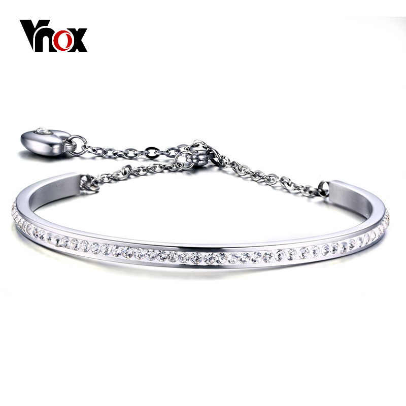 Vnox Temperament Crystals Women Cuff Bracelets Stainless Steel Heart Charm Cuff Bangle Adjustable Link Chain Party Jewelry Gift