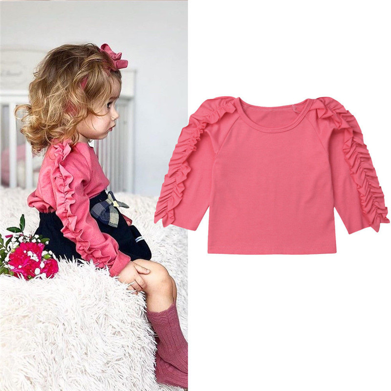 Toddler Kids Baby Girls Ruffled Long Sleeve Crew-Neck T-Shirt Clothes Tee Tops