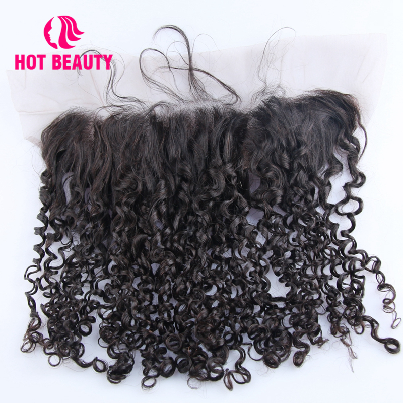 Hot Beauty Hair Frontal Super Double Drawn Small Kinky Curl 4 13 Lace Frontal Free Part