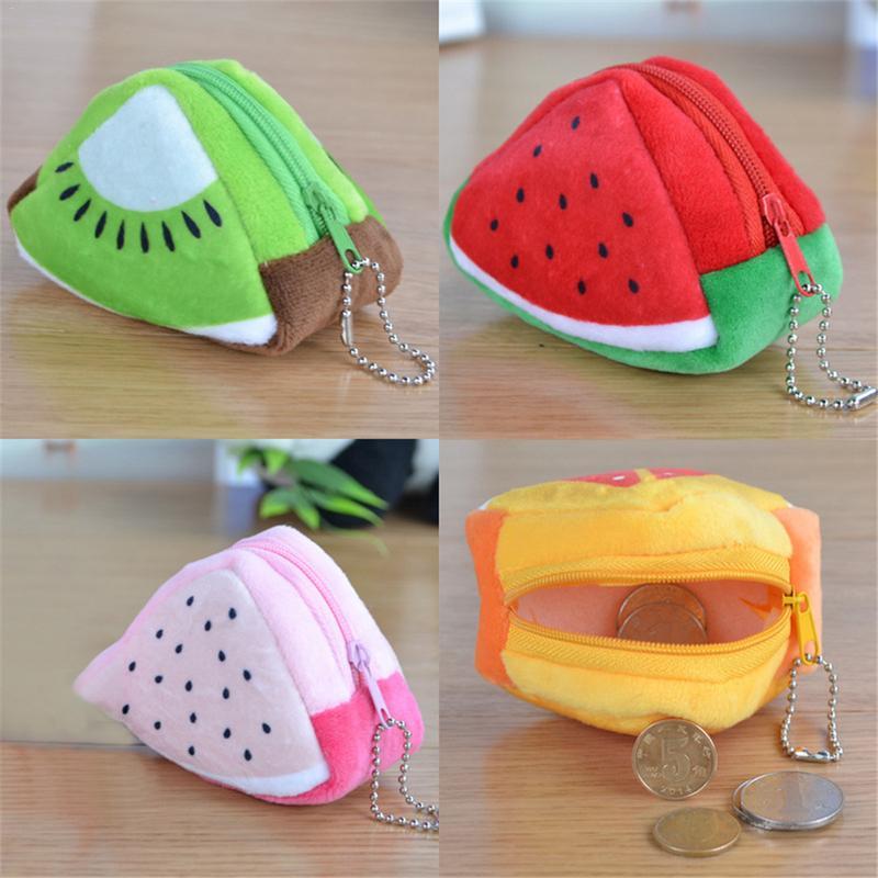 ALL Summer Fruits Toys - Lemon , Watermelon Etc. Plush Toy Pocket Purse , Keychain Plush Toy For Girls 3D Wallet
