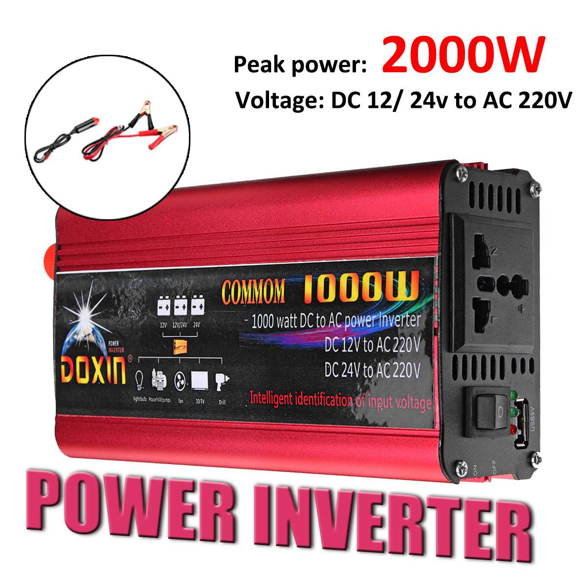 2000W Car Inverter 12 220 Auto Power Inverter Charger Converter Adapter USB Plug Port Modified Sine Wave DC 12V 24V To AC 220V2000W Car Inverter 12 220 Auto Power Inverter Charger Converter Adapter USB Plug Port Modified Sine Wave DC 12V 24V To AC 220V