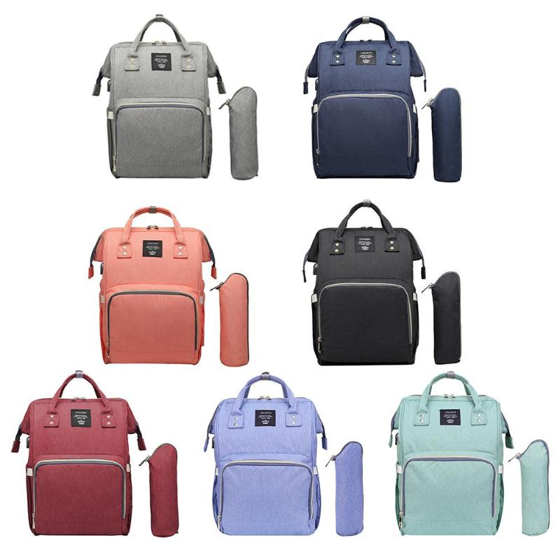 USB Port Maternity Diaper Bag Pure Color Mummy Nursing Backpack USB Charging Baby Nappy Bags Waterproof Mother Travel Handbags