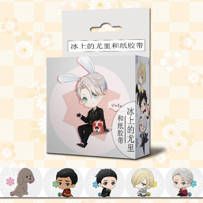 1 Pcs Cute 15mm*5m Japanese Anime Yuri On Ice Washi Tape Adhesive Tape DIY Scrapbooking Sticker Label Stationery Masking Tape