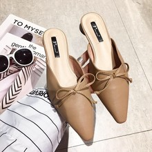 Women Mules Female Slippers Woman Flip Flops Slides Flats Shoes Leather Pointed Toe Low Heels Lady