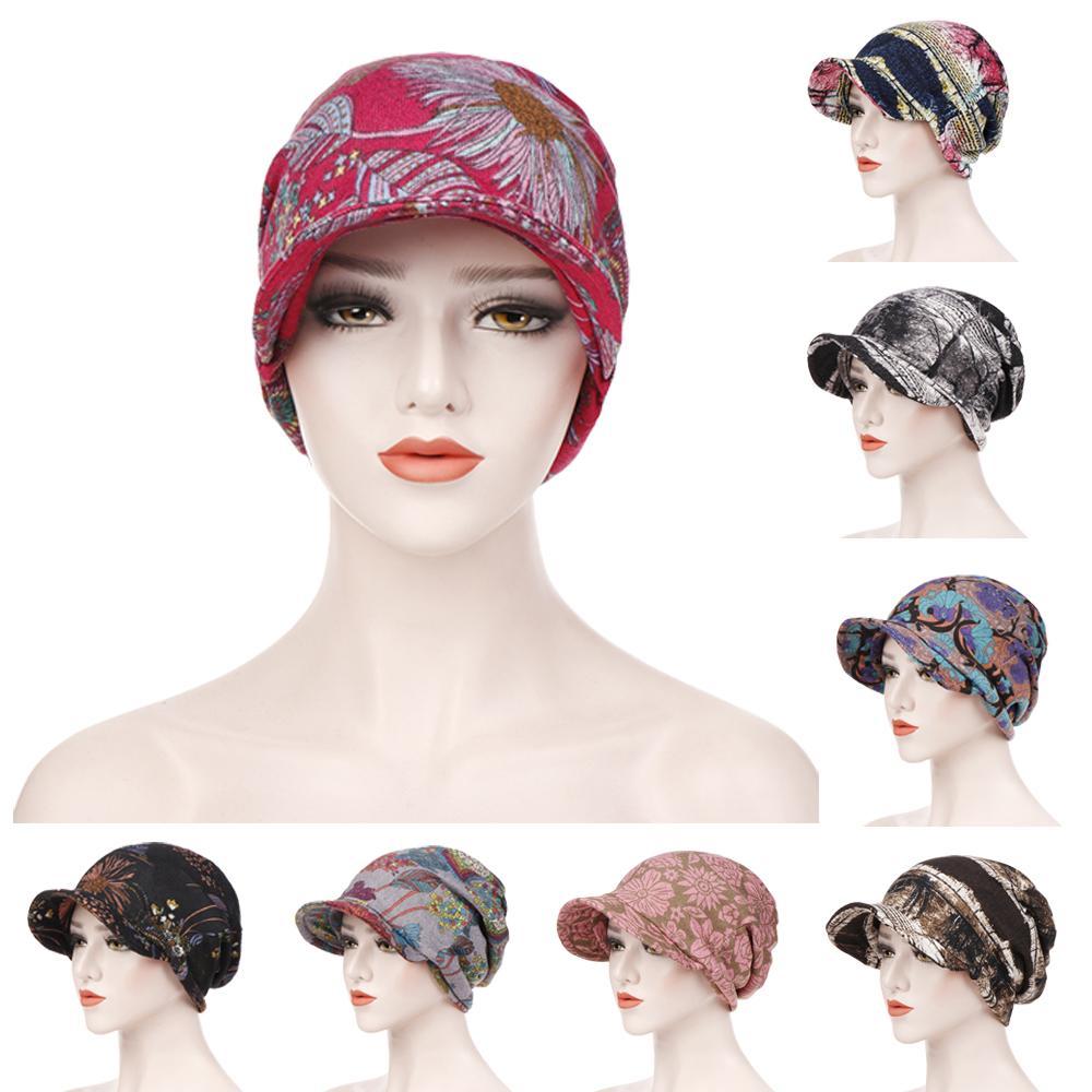 Arab Fashion Women Cap Muslim Beanie Headscarf Chemo Cancer Cap Islamic Print Hair Loss Cap Skullies Casual Head Cover Ramadan