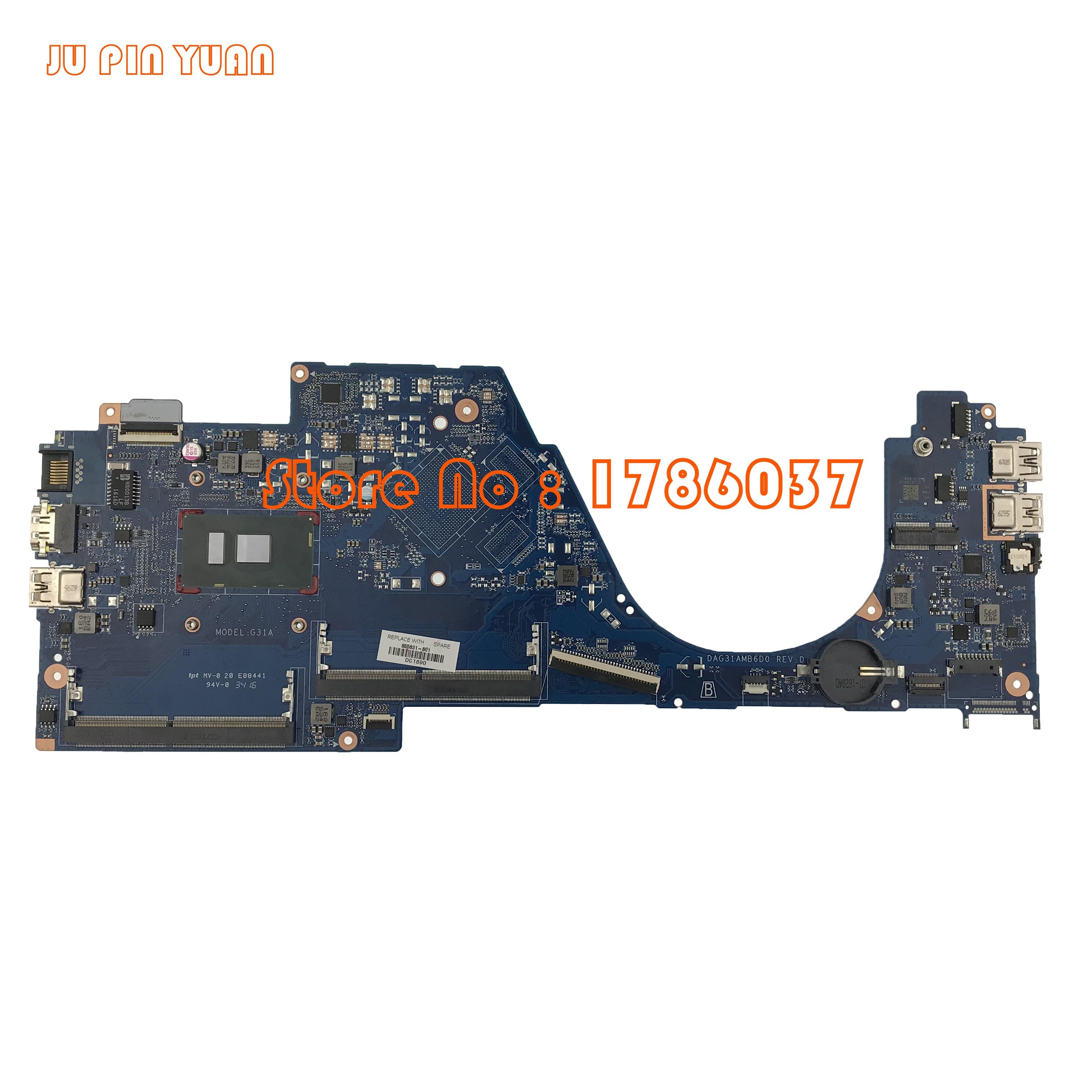 JU PIN YUAN 855831-601 855831-501 DAG31AMB6D0 G31A Para HP PAVILION 14-AL 15-COMO A série Motherboard com i3-6100U totalmente Testado