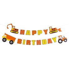 Construction Theme Happy Birthday Banner Dump Truck Excavator Kids Supplies For Baby Shower Boy Party Favors