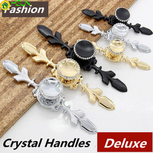 Fashion Deluxe Top Quality K9 Crystal Villa Furniture Handles Silver Gold Black Wardrobe Wine Cabinet Drawer Tv Cabinet Knobs цена