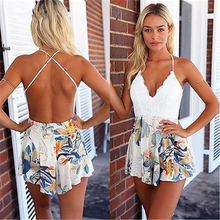 Women summer mini sexy dress women floral deep V Neck lace mini backless dress sundress summer sleeveless dress