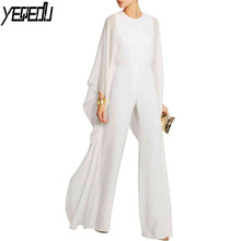 #1537 Spliced Chiffon Jumpsuit Women White/Red/Black Solid Color Wide Leg Ruffles Batwing Sleeve Rompers Elegant