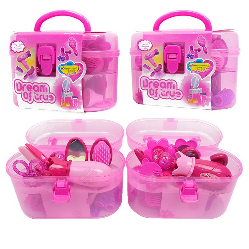 Fashionable Cute Girls Children's Hair Play House Toy Simulation Hairdryer Beauty Salon Dressing Set Pink Decorative Makeup Toy