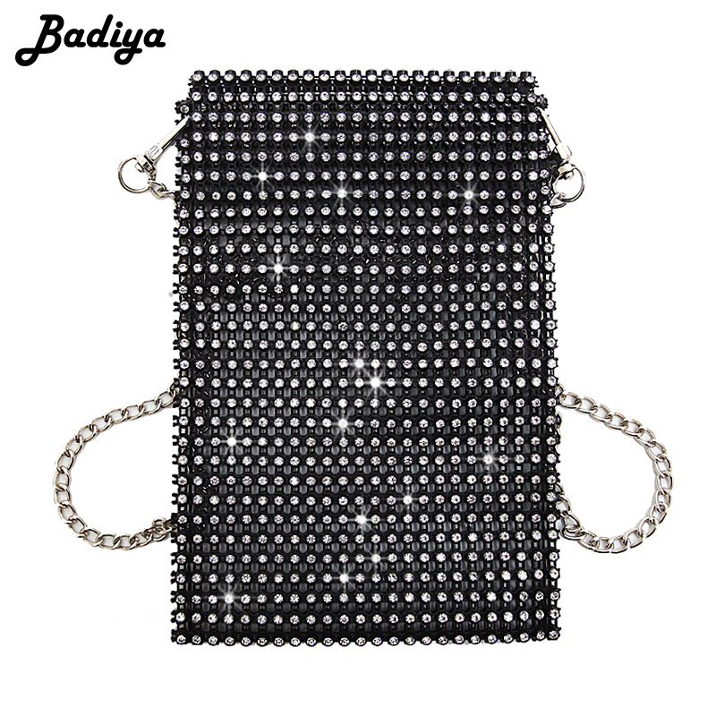 Super Flash Women Shoulder Bag Full Diamonds Lady Crossbody Bag Chain Diagonal Handbag Mobile Phone Lady Personality Mini Bag