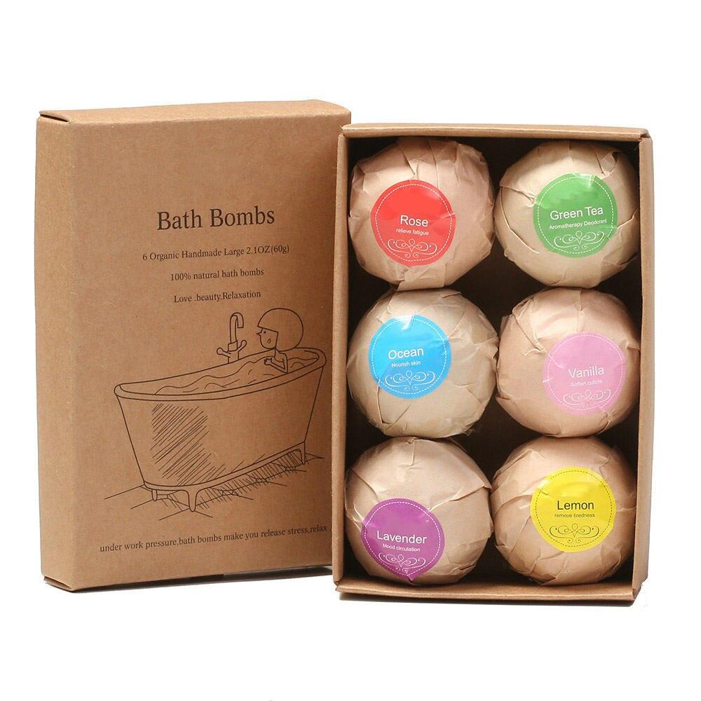 6 Colors Shower Salts Ball Bath Salts Ball Organic Fizzy Bath Bombs Set Handmade SPA Stress Accessories