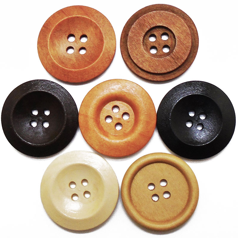 5PCs-35PCs Large <font><b>30mm</b></font> Round Piping Natural Wooden <font><b>Buttons</b></font> Sewing Diy Craft Scrapbooking For Coat Handmade 4 Holes Wood <font><b>Button</b></font> image