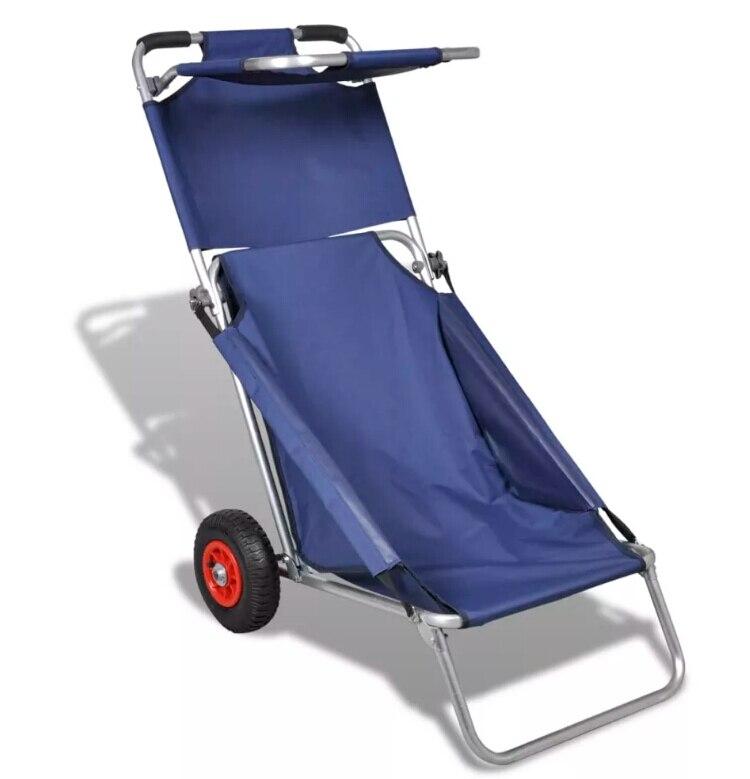 Vidaxl Chariot De Plage Pliable Et Portable Chaise De Plage Multifonctionnelle Siège De Chaise De Pêche En Plein Air Pour Camping Pique Nique Outils