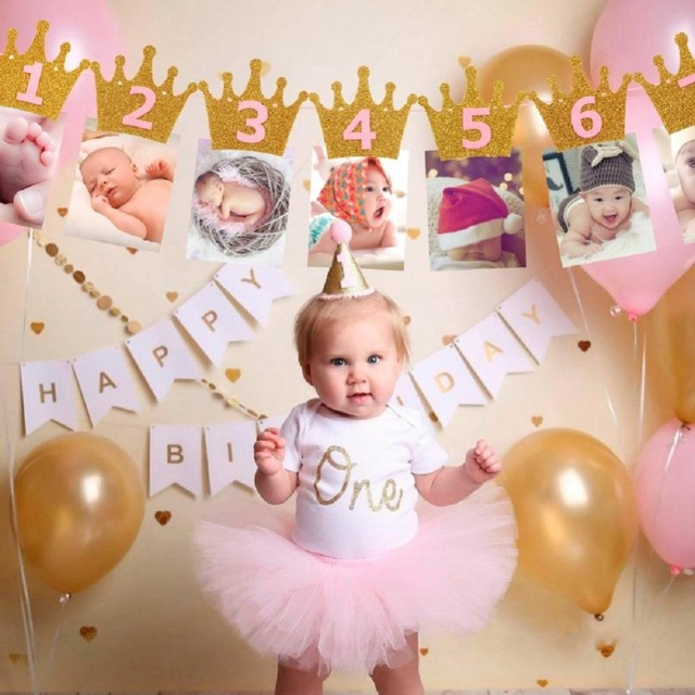Baby 1years Old Happy Birthday Photo Banner Decorations Kids Garland Children Baby Boy Girl Child Bunting Favors Supplies