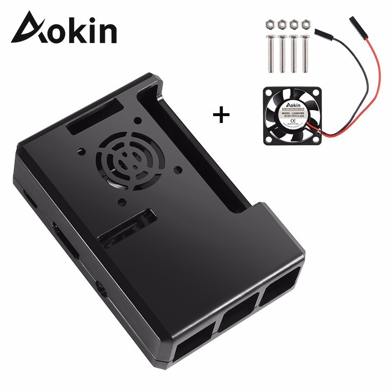 Aokin For Raspberry Pi 3 B Plus Case 4 Color ABS Protective Shell Removable Case With Cooling Fan For Raspberry Pi 3 B+/3/2/ B+