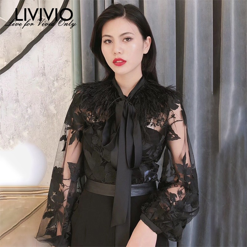 [LIVIVIO] Floral Embroidery Sheer Shirt 2019 Summer Clothes Women Feather Tops Long Lantern Sleeve Vintage Ladies Blouse Korean