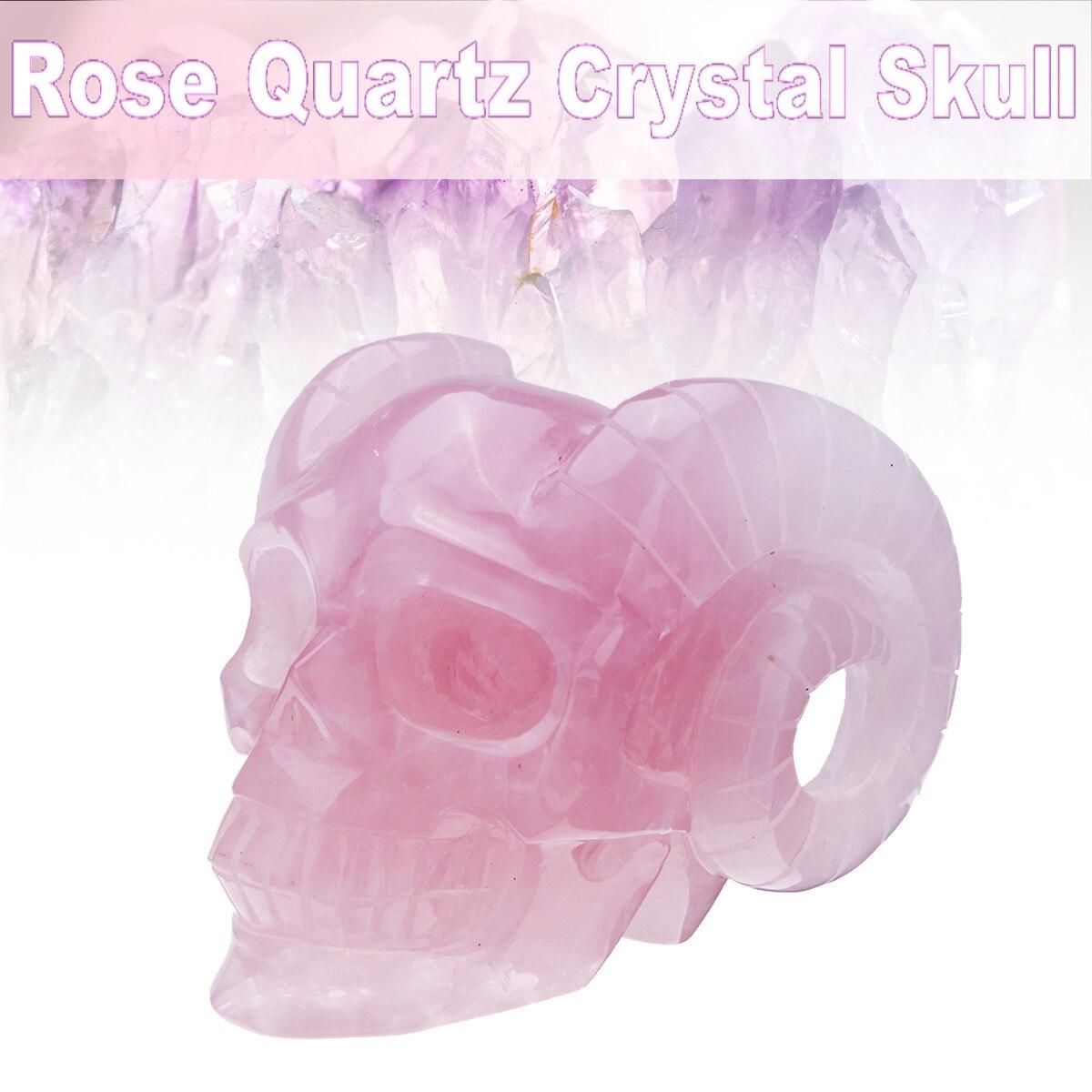 Figurine de crâne en pierre faite main Rose naturelle cristal de quartz sculpté statue réaliste Feng shui guérison ornement de maison à collectionner
