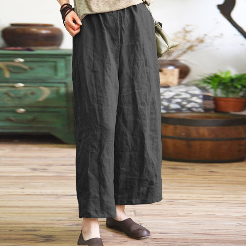 Women Cotton Linen   Wide     Leg     Pants   Casual Loose Harem Trousers Pockets M-5XL
