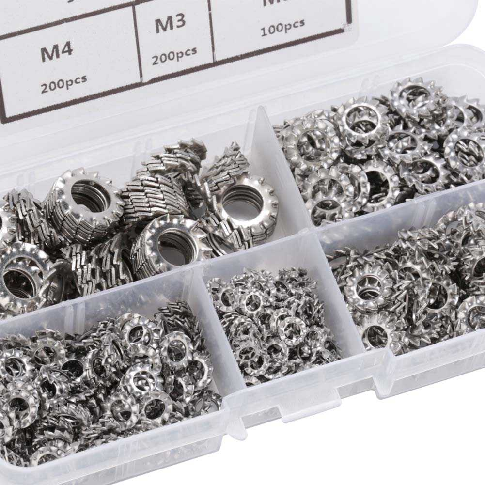 M3 M4 M5 M6 M8 Combination Box for Industrial Equipment 700Pcs Lock Washer Assortment Kit 304 Stainless Steel External Toothed Washers Assortment Set