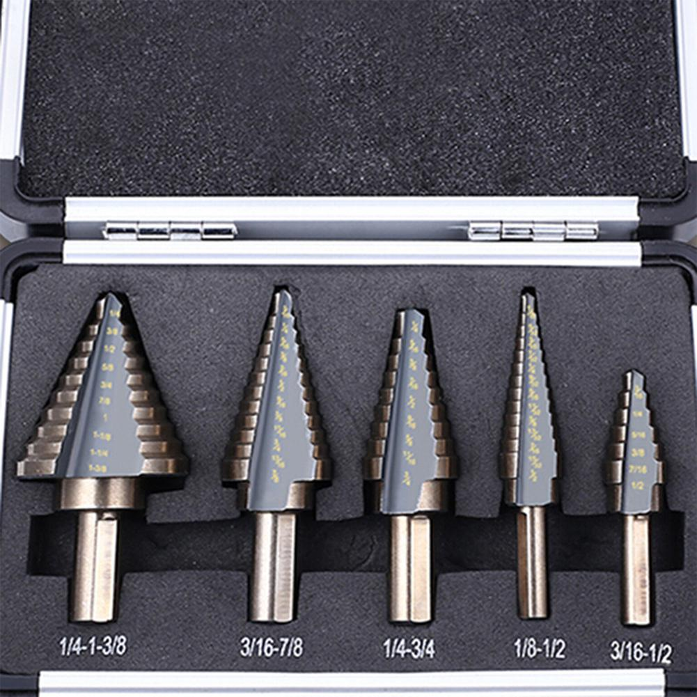 LanLan 5Pcs/Set High Speed Steel Multiple Hole Step Drill Bit Hole Opener for Woodworking Power tool accessories