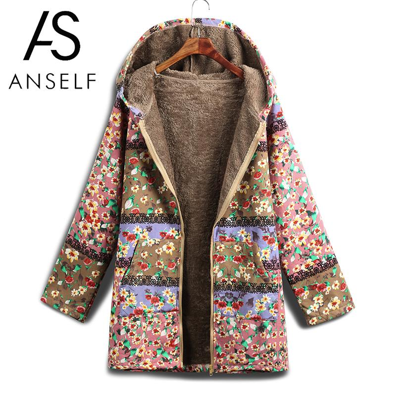 2019 Autumn Winter   Parka   Women Coat 5XL Plus Size Outerwear Floral Print Faux Fur Lining Hooded Long Sleeve Vintage Warm Jacket