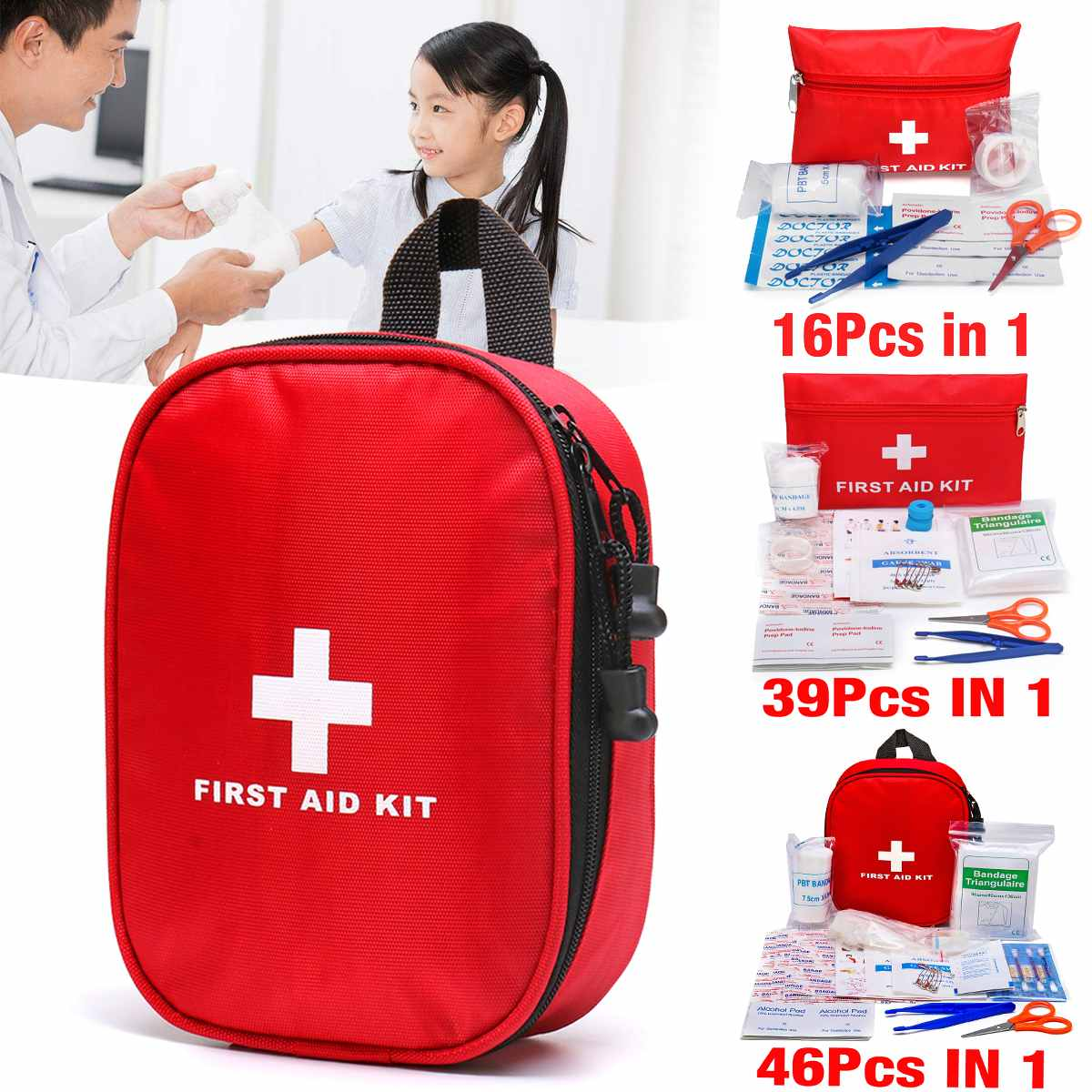 3 Types 16PCS/39PCS/46PCS First Aid Kit Bag Emergency Medical Survival Treatment Rescue Empty Box3 Types 16PCS/39PCS/46PCS First Aid Kit Bag Emergency Medical Survival Treatment Rescue Empty Box