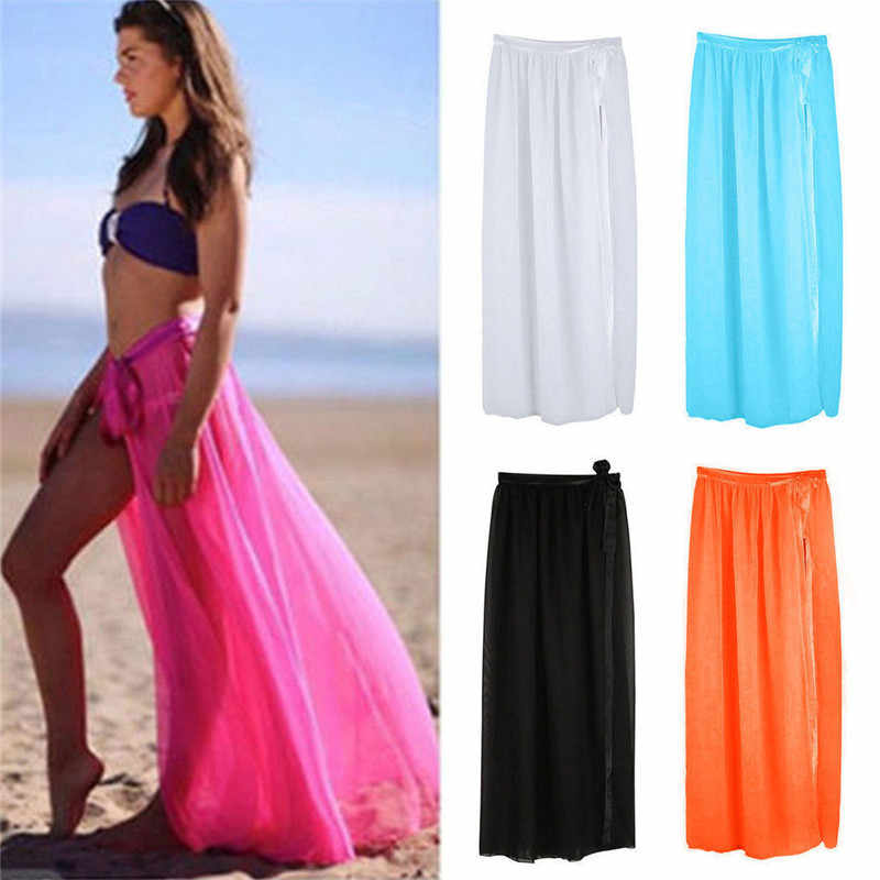4a596c11ab1 Women Bikini Cover Up Bottom Swimwear Solid Long Maxi Wrap Skirt Sarong  Pareo Beachwear Sunwea